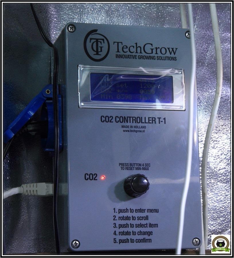 TechGrow CO2 controller T-1 para cultivos de marihuana
