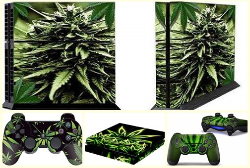 Productos de marihuana para gamers: Funda play station de marihuana.