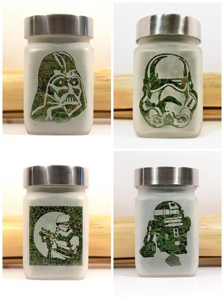 Productos de marihuana para gamers: Tarros para gaurdar marihuana de star wars.